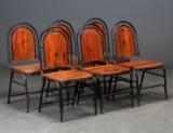 Seks stole af jern og genbrugstræ (6)