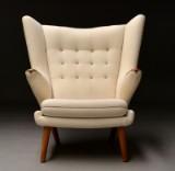 Hans J. Wegner. Lounge chair, model AP19 'Papa Bear Chair', teak/oak and Hallingdal wool