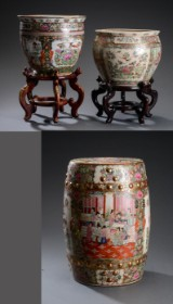 Two Chinese fish pots and garden stool, porcelain, with two hardwood bases, 20th century (5)