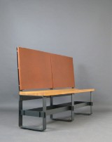 Prof. Reiner Wiesemes, bench/seat, oak, flattened steel and grain leather, limited to max. 6 pieces
