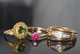 Samling af 3 ringe, diamanter, rubin og olivinperidot (3)