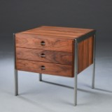 Heino Schultz. Chest of drawers, solid rosewood and stainless steel