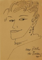 Andy Warhol. 'Kate Balland in The Golden apple', ink drawing