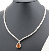 Diamond necklace in 18kt with citrine approx. 1.50ct