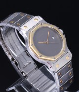 Cartier 'Santos' ladies' watch, 18 kt. gold and steel, grey dial, 1990's