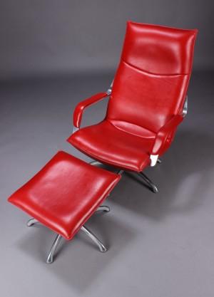 berg furnitur sessel und hocker rotes leder 2. Black Bedroom Furniture Sets. Home Design Ideas