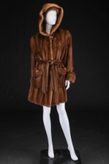Brown mink coat with hood, size 42, and accompanying headband (2)