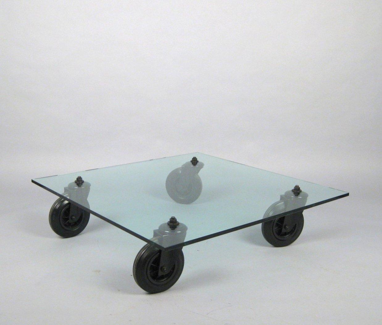 Gae Aulenti Coffee Table Model Tavolo Con Ruote Für Fontana Arte