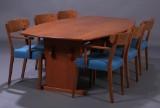 Hans J. Wegner. Seks armstole af eg, 1940'erne samt spisebord / konferencebord (7)