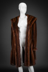 Brown mink swing coat, size 42/44. Saga Mink
