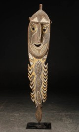 Large ancestral figure, carved and painted wood, Melanesia