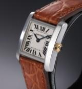 Cartier 'Tank Francaise'. Dameur i stål med original rem og spænde, 2000'erne