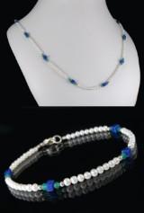 Kette und Armband aus Achat, Lapis Lazuli und Zuchtperlen, Set ( 2 )