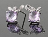 Ametyst and diamond earrings, 14kt. white gold (2).