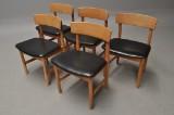 Børge Mogensen. Et sæt på fem stole af eg, model 3236. (5)