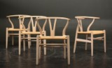 Hans. J. Wegner. Four Wishbone chairs, oak and papercord
