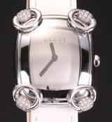Gucci 'Horsebit' damearmbåndsur med diamanter