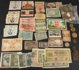 Mønter - 10 kroner seddel, sølvmønt, nødpenge med mere