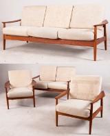 Lounge suite/lounge seating group: Arne Vodder, 3-seater, 2-seater lounge sofa and 2 lounge chairs in teak for France & Søn (4)