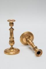 To Biedermeier-lysestager, bronze, lueforgyldt (2)
