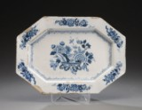 Oblong octagonal Baroque plate, faience, England or Danmark, 18th century