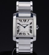 Cartier 'Tank Francaise'. Midsize ladies watch in steel with light dial, 2000s