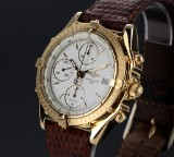 Breitling 'Chronomat'. Men's watch, 18 kt. gold and white dial, 1990s