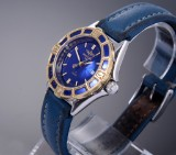 Breitling 'J-Class'. Ladies watch, gold and steel, with deep blue dial