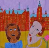 Ida Bruun. Komposition med figurer og bygninger, akryl på lærred