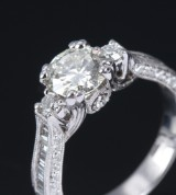 Diamond ring, 18 kt. white gold, with diamond, 1.09 ct. K/VVS2 HRD Antwerp certificate included