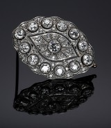 Art Deco brooch, platinum, with diamonds, total approx. 2.25 ct. 1920-30s