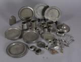 Samling tin, overvejende engelsk, 1800-tallet