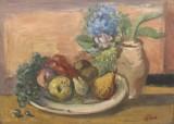 Herman Baptist Hundt (1894-1974), oil on panel, 'Stillleben mit Trauben'
