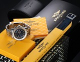 Breitling 'Navitimer World'. Men's chronograph, steel, with blue dial - box + certifcate 2006