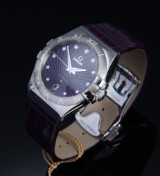 Omega 'Constellation Quartz'. Ladies watch, steel, with diamond dial, box + documents