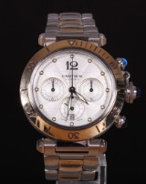 Cartier Pasha Chronograph. Men's watch, 18 kt. gold and steel