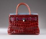 Asprey of London. Handbag in multicoloured colour crocodile skin