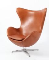 Arne Jacobsen. The Egg. Lounge chair, cognac aniline leather