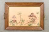 Bricka 1900-talets första hälft i trä och teckning