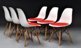 Charles Eames. Six shell chairs with hopsack, model DSW (6)