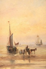 Hendrik Willem Mesdag. Coast view with fishing boats and figures