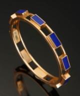 Armring, Hans Hansen. 14 kt guld med lapis lazuli