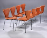 Arne Jacobsen. A set of eight chairs, 'Series 7', Model 3107, cognac-coloured aniline leather, new seat height 46.5 cm. (8)