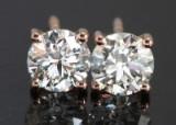 Earrings with brilliant cut diamonds  1.04ct