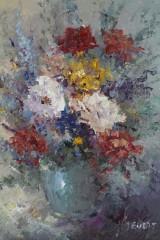 John Bevort, Blumenstillleben, Acryl auf Leinwand , unten rechts signiert.