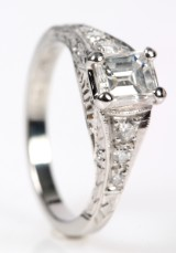 Diamond ring, platinum. River/ VVS, approx. 1.11 ct. AGI certificate, New York (2)