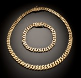 Curb chain necklace and bracelet, 106 gram (2)