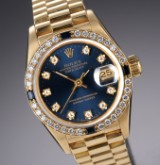 Rolex Datejust ladies' watch, sapphire, diamonds, 18 kt. gold, blue dial, c. 1990