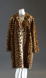 Vintage damkappa i leopard, 1960-tal. Storlek ca 40