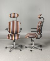 Office chairs, Savo Ikon, a pair, with Paul Smith covers (2)